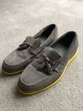 Diesel Grey Suede Loafers Yellow Sole Size 42 UK8