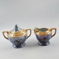 Vintage Blue Floral Lusterware CREAMER and Covered SUGAR Set. Hand Painted Japan