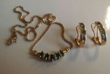 14K GOLD DIAMOND AND EMERALD PENDANT NECKLACE WITH EARRINGS ((515))