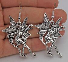 """925 Silver Plated Hook-2.2"""" Flower Fairy Butterfly Angel Retro Lady Earrings #61"""