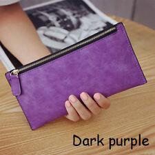 Fashion Women Lady PU Leather Clutch Wallet Long Card Holder Purse Handbag Dark Purple