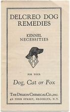 Delcreo Dog Remedies Pamphlet, Delson Chemical Co., Vars Brothers - Westerly, RI