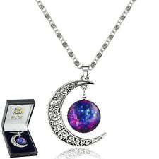 Moon And Star Galaxy Necklace Silver Pendant - Elegant Gift Box