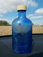 "Vintage Phillips Milk Of Magnesia Cobalt Blue Glass Bottle 7"" Tall"