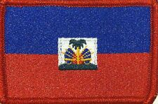 HAITI Flag Embroidered Iron-On Patch Military Shoulder Emblem Red Border #050