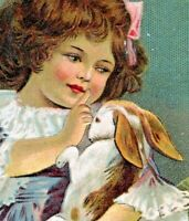 Antique Easter~ADORABLE GIRL HOLDS & SHUSHES LITTLE RABBIT~COLORED EGGS~Postcard