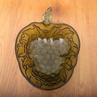 Vintage Large Green Glass Grape Pattern Bowl