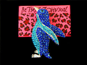 Betsey Johnson Blue Crystal Rhinestone Lovely Penguin Charm Prom Brooch Pin Gift
