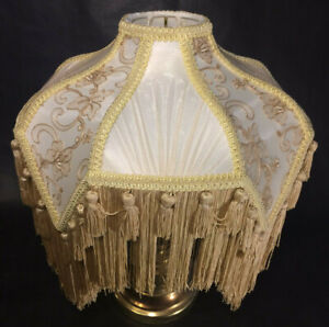 New Beige & Champagne Victorian Style Table Lamp Fabric Shade With Fringe SS798B