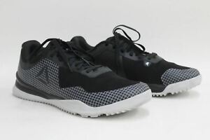 REEBOK Men's Crossfit Froning 1 Black & White Lace Up Sneakers Trainers UK11