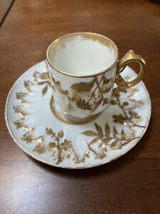 klosterle demi tasse cup and saucer.  White And Gold ca. 1793