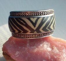 JWBR Black & White Enamel Natural Diamond Zebra REAL 925 Sterling Silver Ring