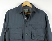 L.L.Bean Buzz Off Shirt Insect Repellent Mens Blue vented fishing hiking - Small