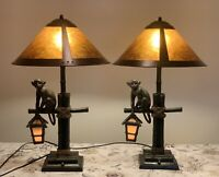 Pair Double Light MONKEY LAMPS + mica lamp shades. Table Lamps 30'