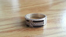 Beautiful  Black Onyx CZs Cross Band Ring Sterling Silver *Side 5.5 *Y058