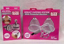 Set of 2 Size Matters Breast Cupping System & XL Nipple Suckers Powerful Suction