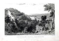 DEVON, CANONTEIGN HOUSE & FALLS, DARTMOOR, Allom Antique Print 1832