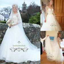 Long Sleeve White/Ivory Lace Tulle Wedding Dress A Line V Neck Bridal Gown New
