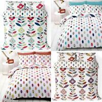 Floral Duvet Covers Lulu Reversible Scandi Retro Flowers Quilt Cover Bedding Set