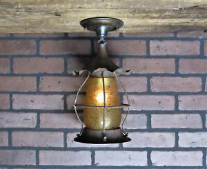 Vintage Antique Copper Craftsman Porch Ceiling Light Glue Chip Shade Restored