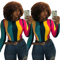 ❤Women Long Sleeves Colorful Stripes Bodycon Casual Club Party Tops Shirt