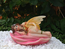 Miniature Figurine FAIRY GARDEN ~ Yellow Pastel Fairy Laying in Pink Rose Flower