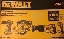 DEWALT DCK423D2 20V MAX* Compact 4-Tool Combo Kit BRAND NEW LOW SHIPPING!