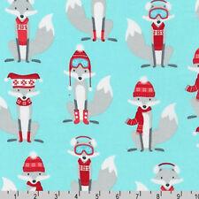 BY YARD-Polar Pals Fox Foxes Winter Ski Snow Robert Kaufman Fabric 15965-70 Aqua