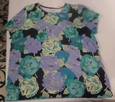 Ladies short sleeve top in floral print 100% cotton size 1X