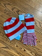 NEW WITH TAGS WHITE + WARREN Blue and Red Striped Hat and Gloves