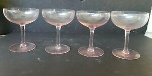 4 Vintage Pink Champagne Coupe Glasses Martini Stem Cocktail Stemware Barware