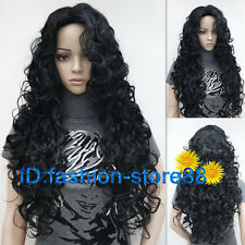 New Ladies fashion Long Curly Black Natural Hair Women's Wigs + wig cap
