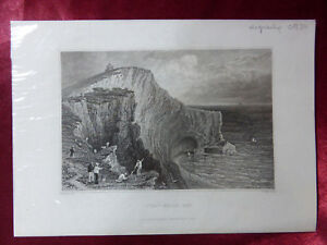 VIEW of SCRATCHELLS BAY, ISLE OF WIGHT Antique engraving c1830 Veduta art print