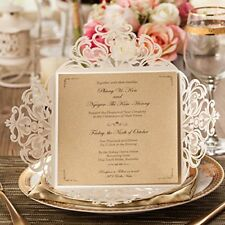 Square Ivory Laser Cut Wedding Invitations Cards 50 pc