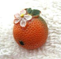 Colorful Orange w Blossom Buttons Button Plastic 5/8 x 3/4 Inchs A44