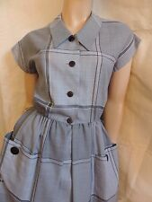 PUR VINTAGE 70   ROBE  grands carreaux GRIS / G PASQUIER 36/38/ VTG DRESS