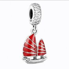 European Red Sailboat Dangle Silver Charms Bead Fit 925 Sterling Bracelets Chain