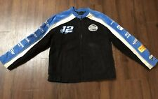 Wilsons Leather XL Nascar Ryan Newman #12 Suede Leather Jacket Blue Black White