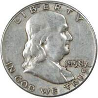 1958 50c Franklin Silver Half Dollar US Coin Average Circulated