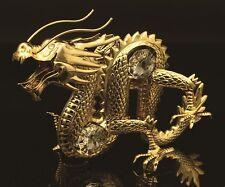 AUTHENTIC SWAROVSKI CRYSTAL ELEMENT DRAGON FIGURINE/ORNAMENT 24K GOLD PLATED