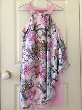 NEW Monsoon Fusion Pink Butterfly Print Dress Size 10