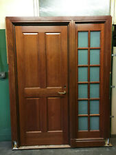 Architectural Salvage Cherry Wood Exectutive Door w/ Smoked Glass Sidelite