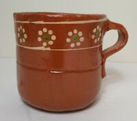 Large Red Clay Pottery Cup Planter Floral Accents
