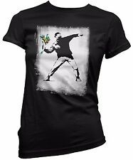 "T-SHIRT DONNA ""Banksy - Flower Bomber"" - maglietta 100% cotone - Nero"