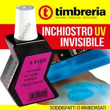 INCHIOSTRO PER TIMBRI DISCOTECA  - INCHIOSTRO INVISIBILE UV: PELLE UMANA e CARTA