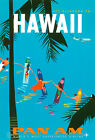 """Vintage Illustrated Travel Poster CANVAS PRINT Hawaii Pan Am 24""""X18"""""""
