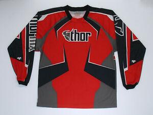 Thor MX Jersey Long sleeve Red black Large mens Racing BMX ATV motocross shirt