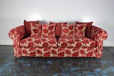 "Stunning Duresta ""Maximus"" 3-Seat Chesterfield Sofa in Raspberry-Red Motif Fa..."