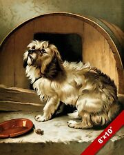 PET MONGREL DOG LIVING IN A WHISKEY BARREL ART PAINTING PRINT ON REAL CANVAS