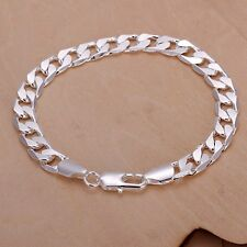 Fashion 925Sterling Solid Silver Men Jewelry 8MM Chain Bracelet For Women H246